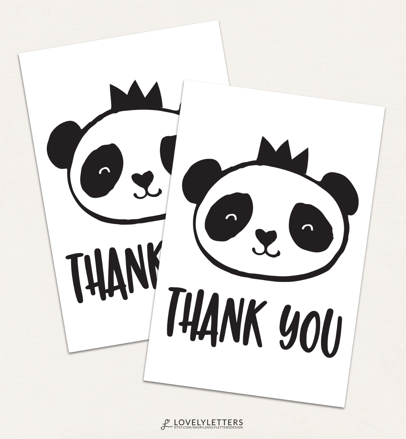 Panda Thank You Card / Panda Thank You Tag / Panda Party