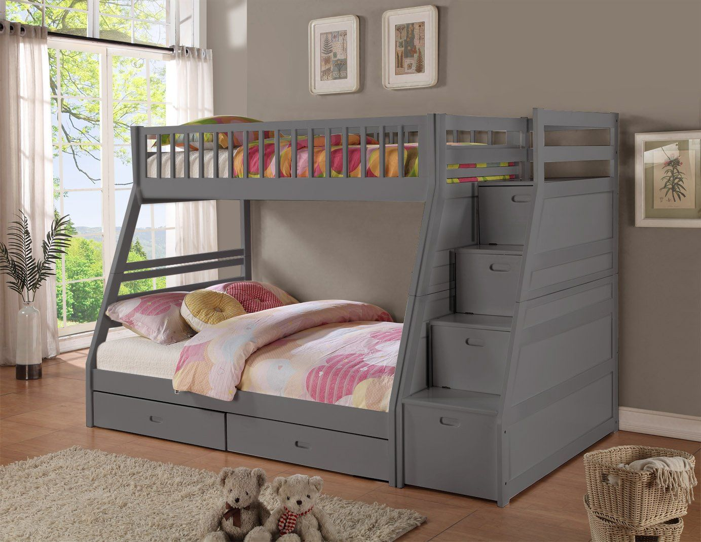 16 Gray Finish Twin over Twin Staircase Bunk Bed with Trundle and Storage