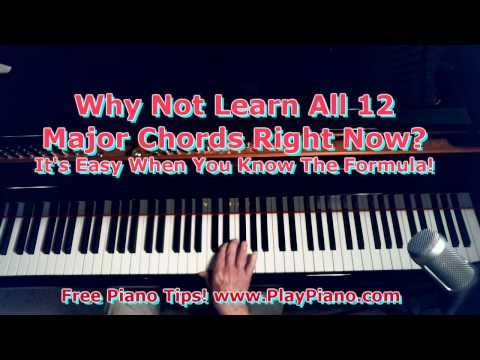 Learn All 12 Major Piano Chords Fast Youtube Piano Chords