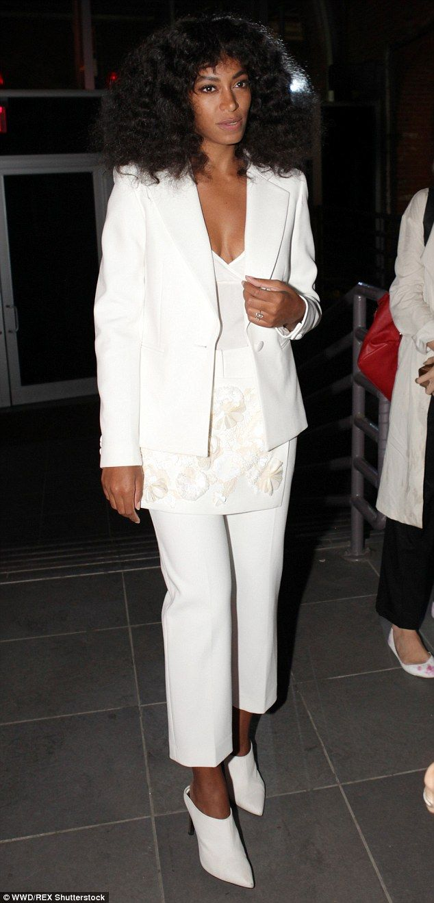 All white on the night! Solange Knowles looked beautiful as she offered some retro glamour at the soirée