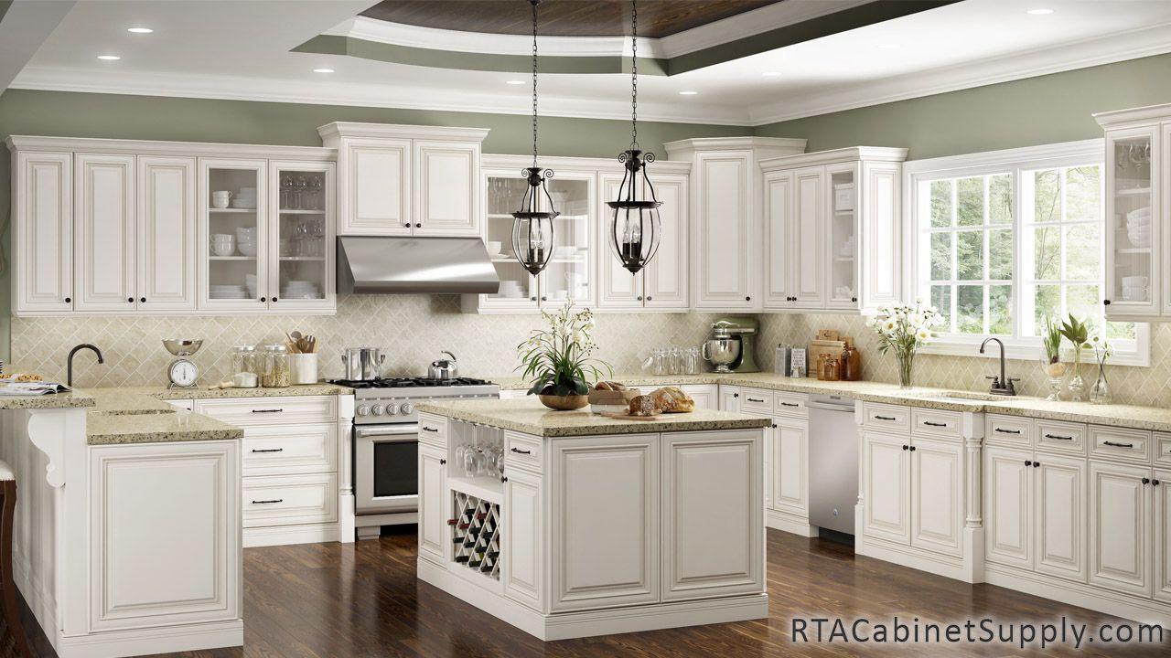 Charleston Cream Rta Kitchen Cabinet Sets Kitchen Cabinet Styles Antique White Cabinets Antique White Kitchen Cabinets