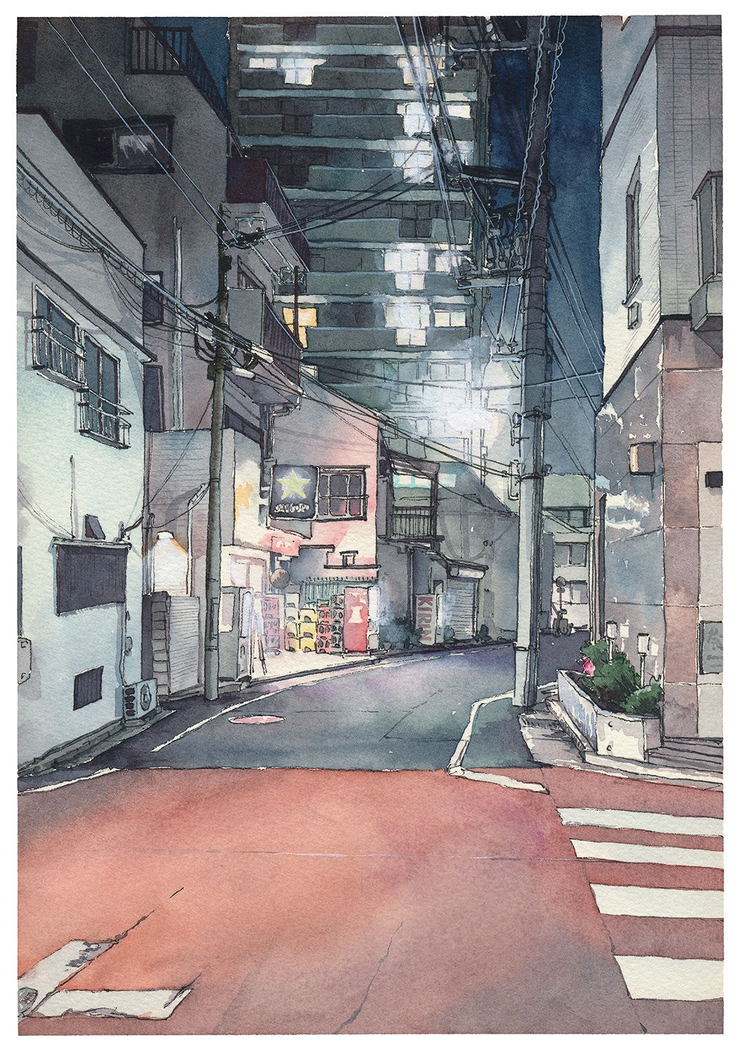 Watercolor Illustrations Depicting Night Streets Of Tokyo By