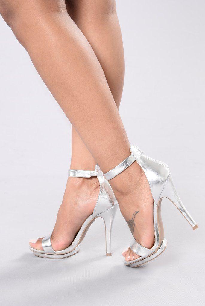 ef62be5ab07 Step into Suede Heel - Silver