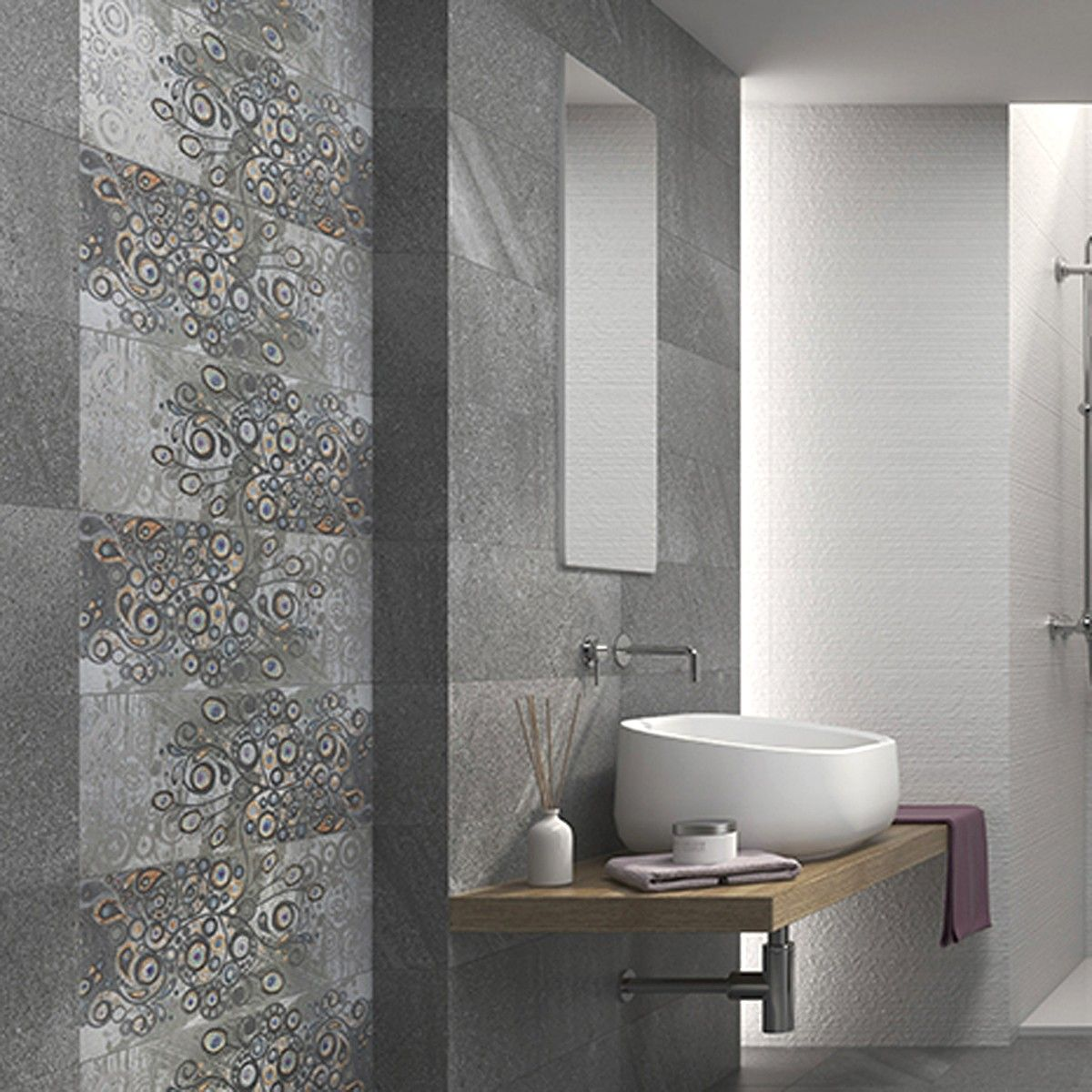 Decorative Wall Tile 58X235 Torino Gris Peacock Decor  Tile Choice  Badhroom Baño