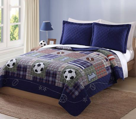 Luxury Navy Blue Sports Boys Bedding Twin Full Queen