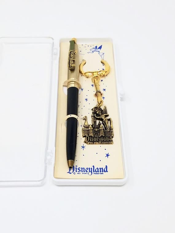 Disneyland Vintage Gold and Black Pen & Keychain with Tinker Bell Collectible Souvenir Set From the 1960's #disneylandfood