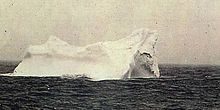 This is the only image avaliable  of the iceberg which was probably rammed by the RMS Titanic. This picture was taken a few days after the disaster by the Czech sailor Stephan Rehorek who died in 1935.