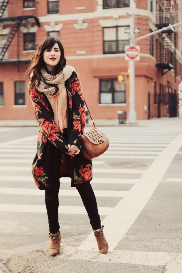 wearing: cardigan - Free People; scarf- Urban Outfitters; top c/o Lucca Couture; bag- Vintage; Jeffrey Campbell boots
