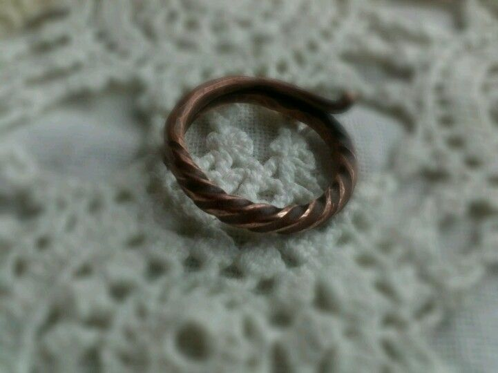 Hammered rustic copper ring