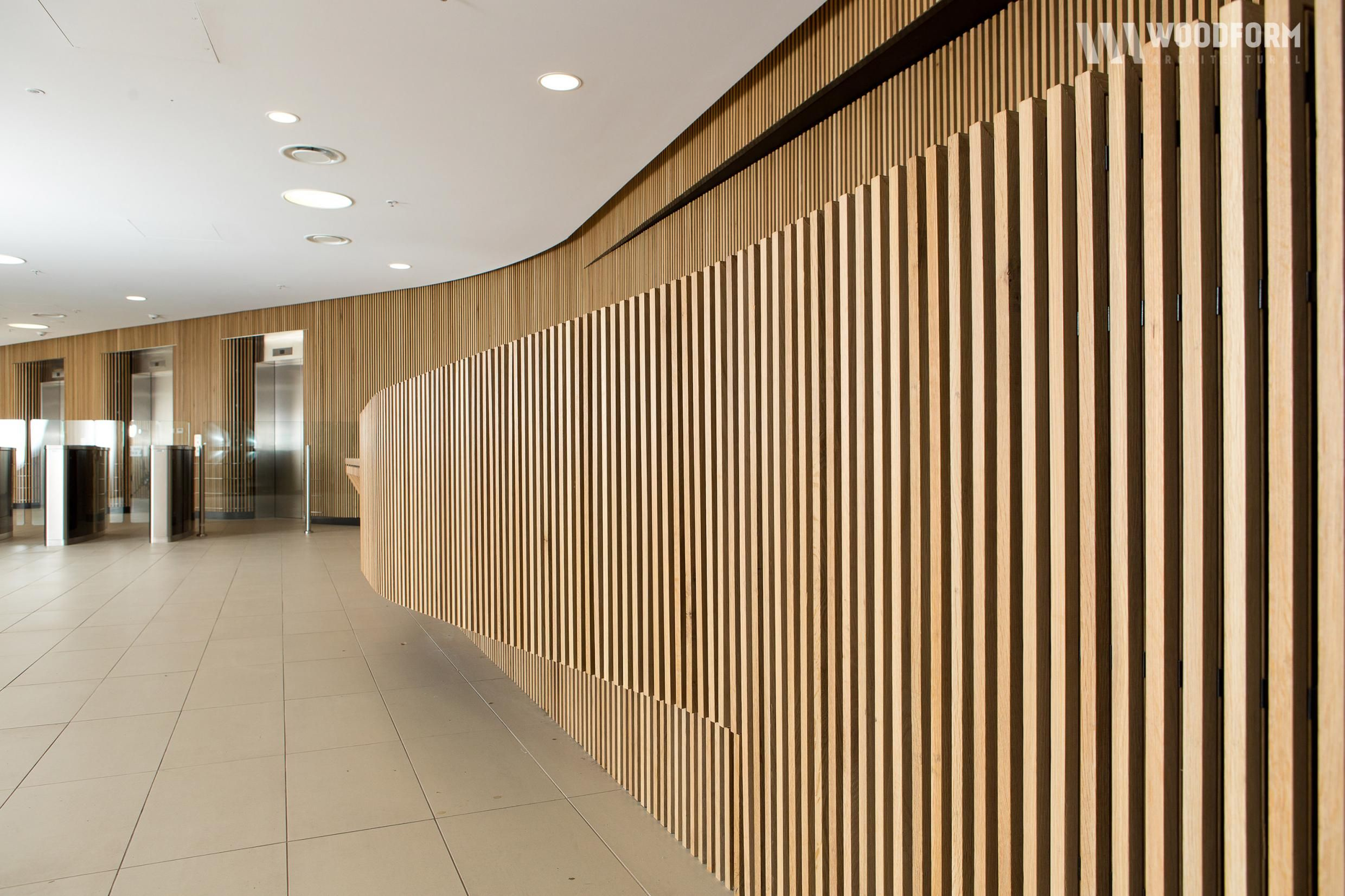 American White Oak Curved Wall Interior Application Concept Click Timber Battens And Screening