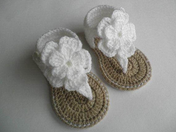 Crochet baby sandals, baby gladiator sandals, baby booties, baby ...