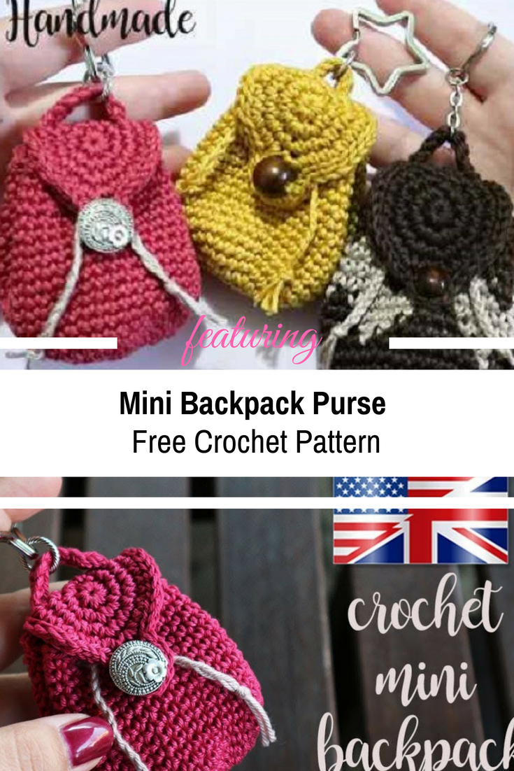 Totally Awesome Crochet Mini Backpack Purse Free Crochet Pattern To