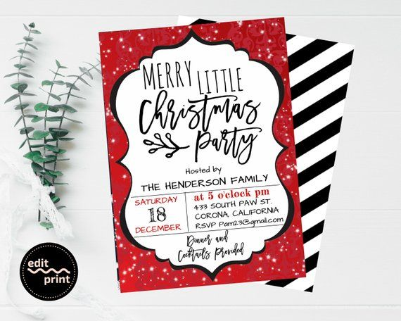 Christmas Party Invitation, Holiday Party Editable Invite, Classic