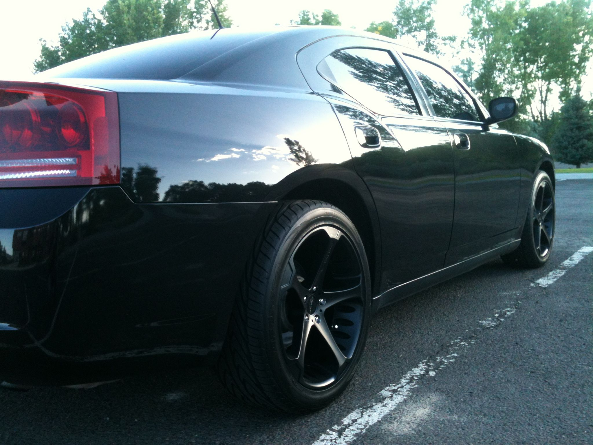 Dodge charger with giovanna dalar wheels rear view