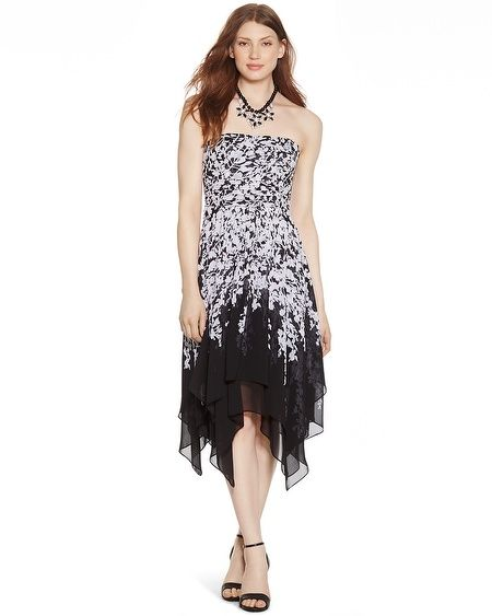 White House | Black Market Strapless Black and White Floral Dress ...