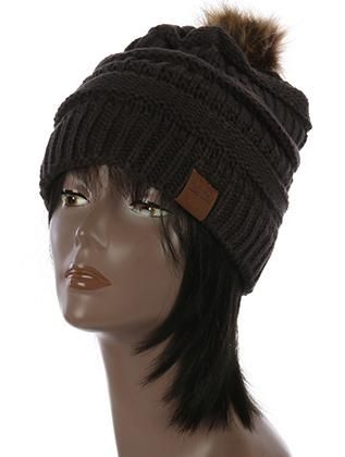 HAT AND CAP / FAUX FUR POM POM / KNIT WINTER BEANIE / ONE SIZE / 100% ACRYLIC / NICKEL AND LEAD COMPLIANT