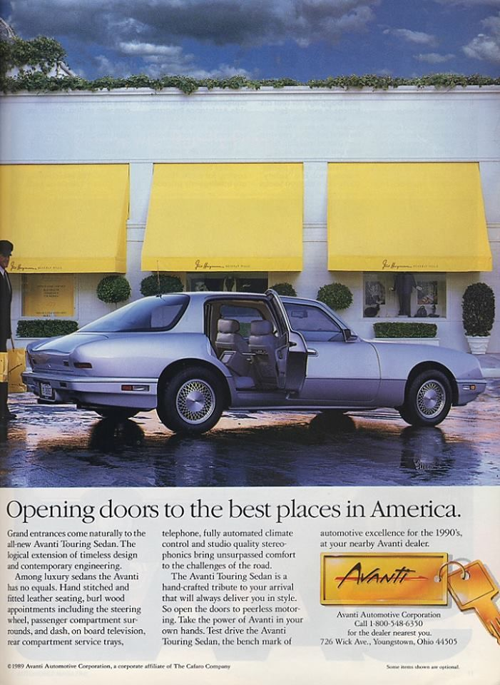 Ad For The New 4 Door Avanti Vintage Cars Classic Cars Vintage Car Ads