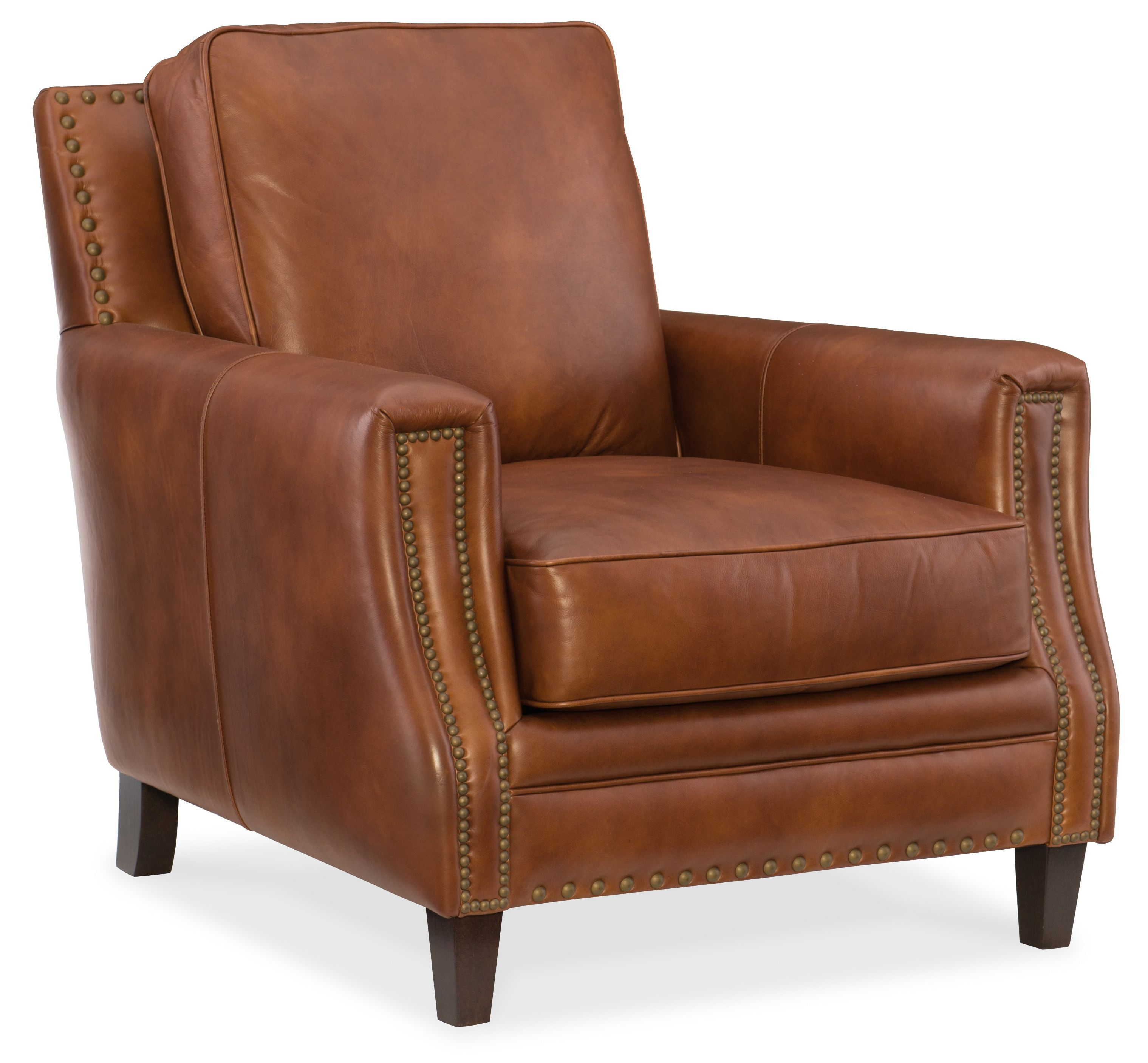 Brown Leather Chair With Nailhead Accents Available At Mooradians  # Meuble Tv Ikea Rouge