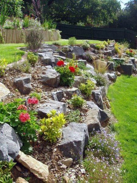 Top 50 Best Slope Landscaping Ideas Hill Softscape Designs Sloped Backyard Landscaping Backyard Hill Landscaping Rock Garden Design