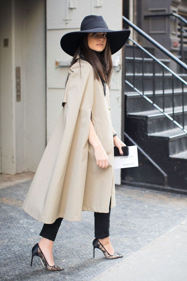 off duty model inspired 2017 outfit statement cape and hat