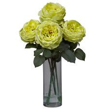 Fancy Yellow Rose with Cylinder Vase | Silk Flower Arrangement | Nearly Natural