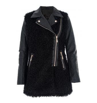 Black Boucle PU Jacket