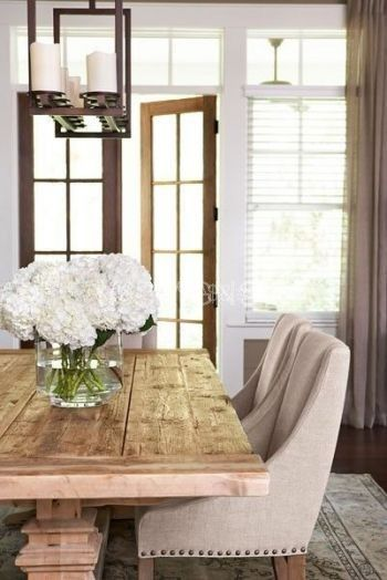 Dining Room Decor Ideas   Transitional Rustic Style In Beige And White With  Farmhouse Table, Upholstered Chairs And Metal Candelabra Light Fixture.