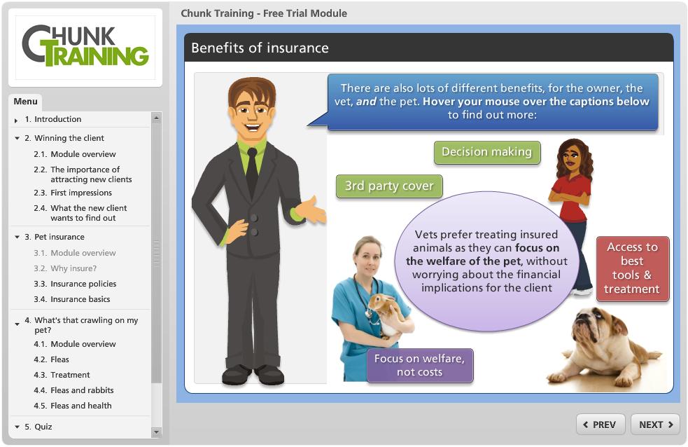 A Screenshot From The Chunk Training Veterinary Pet Insurance
