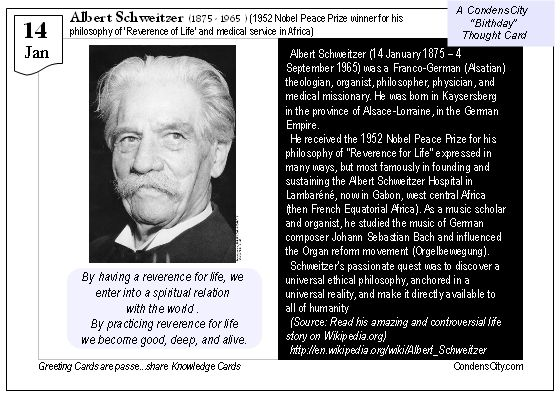 Thought Card 14 Jan Birthday Of Albert Schweitzer 1952 Nobel Peace Prize Winner