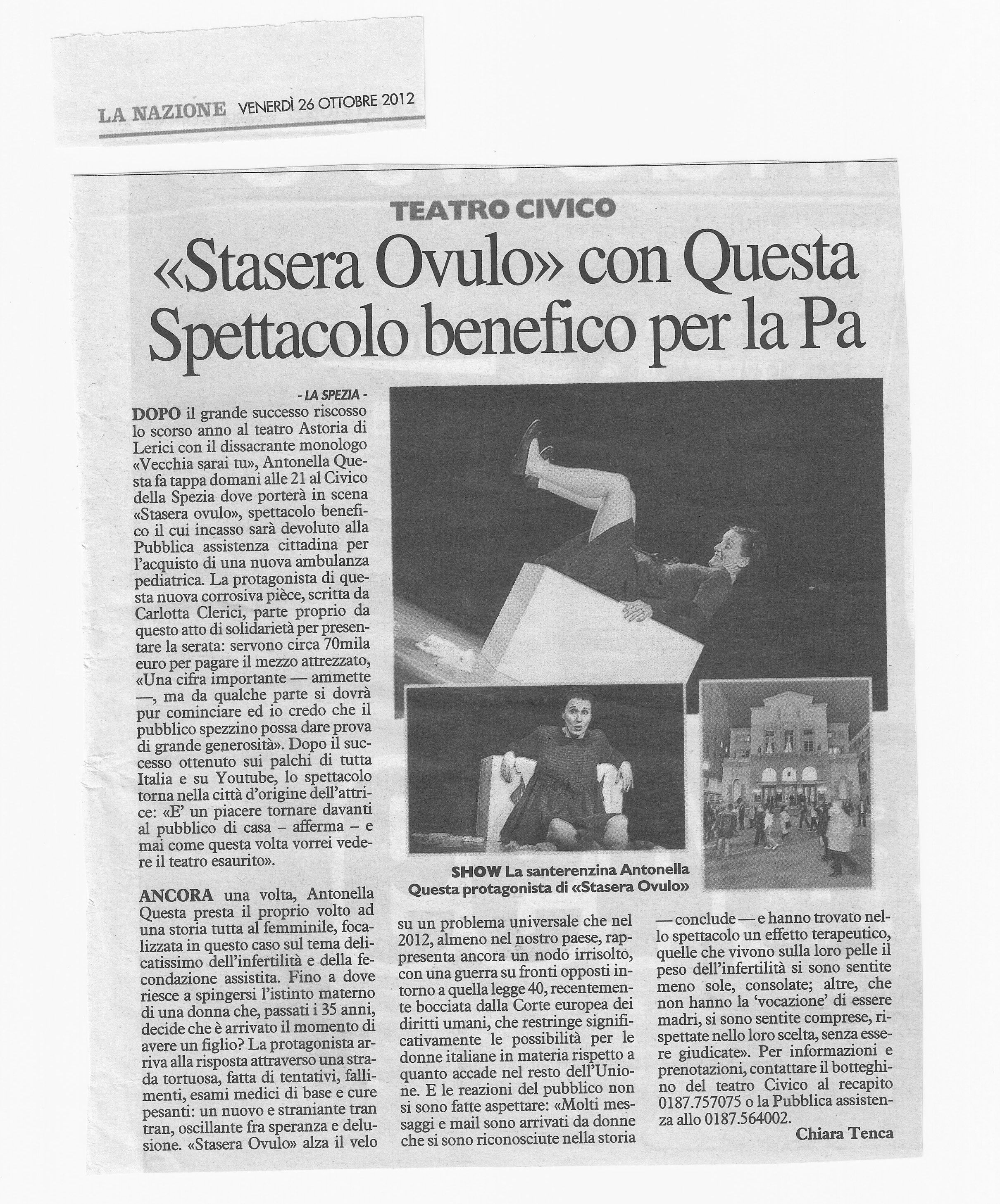 STASERA OVULO @ Teatro Civico - Spezia - 26/10/12 serata benefica