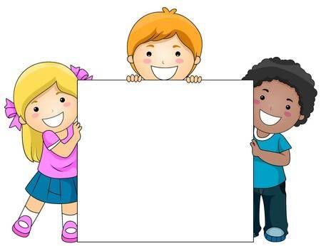 Kids With A Blank Board Against White Background Kids Background Preschool Designs Powerpoint Background Design