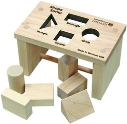 #AmericanMadeToys Shape Sorter Bench $23.00  A great toy for learningshapes for those 3 years old and younger. Natural hardwood maple wooden pieces, unfinished.