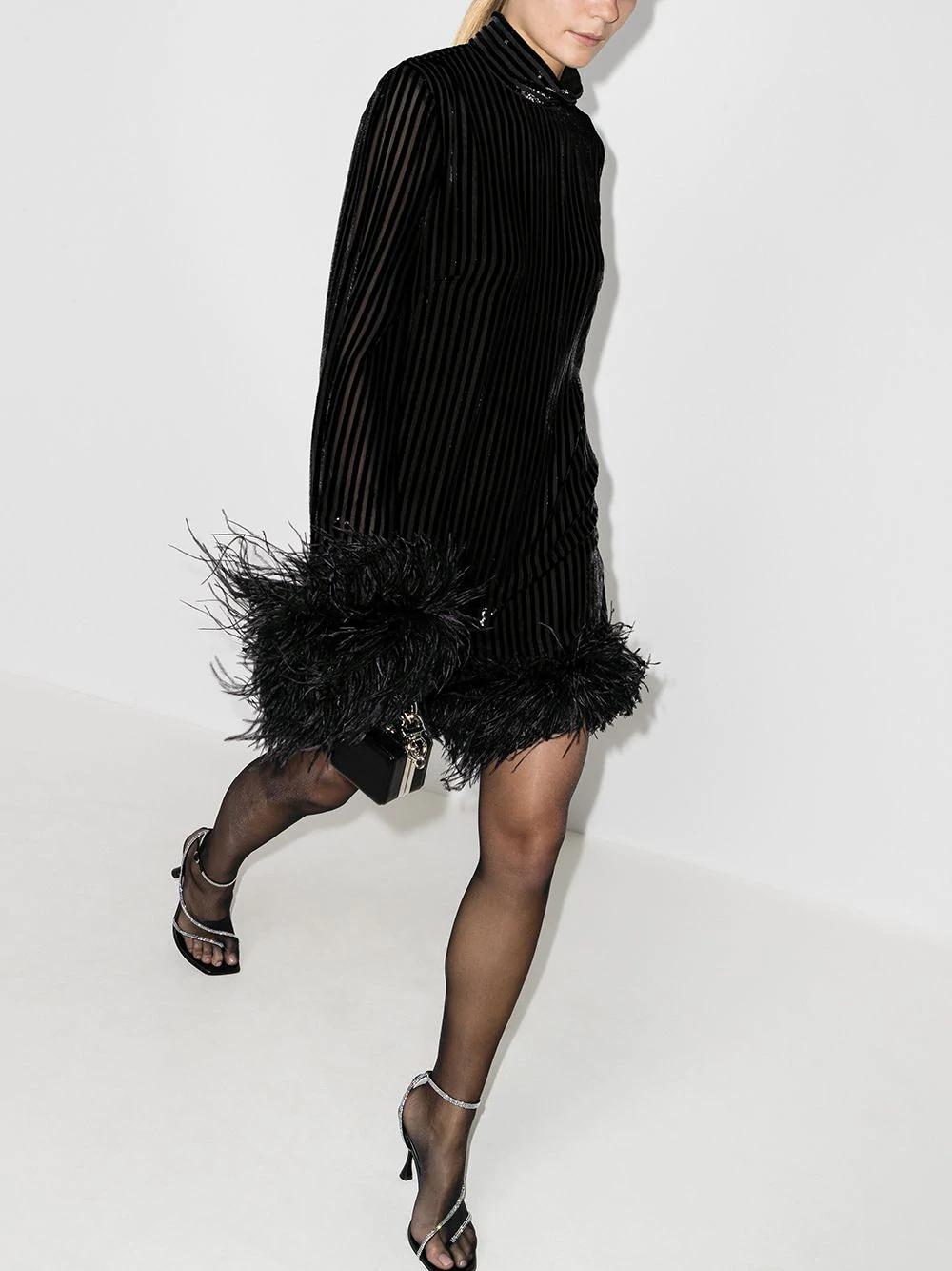 Taller Marmo Gina Feather Trim Mini Dress Farfetch Friday Night Dresses Mini Dress Mini Black Dress [ 1334 x 1000 Pixel ]