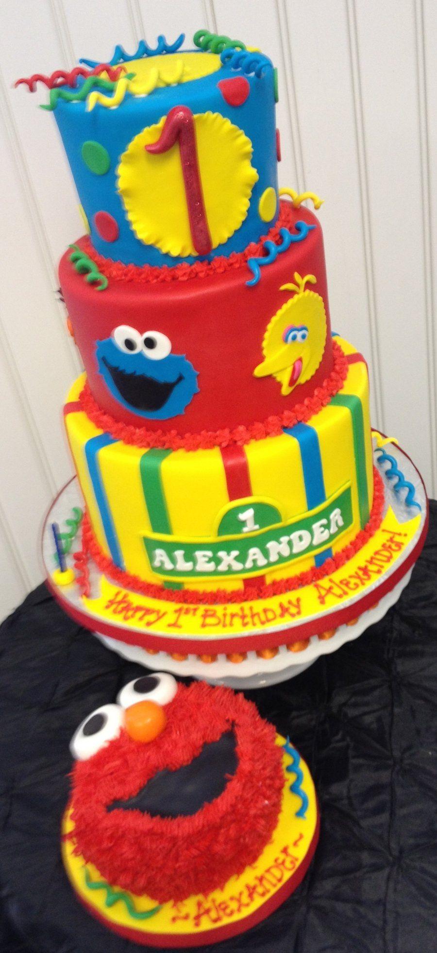 Sesame Street Birthday Cake on Cake Central RJ 1st birthday