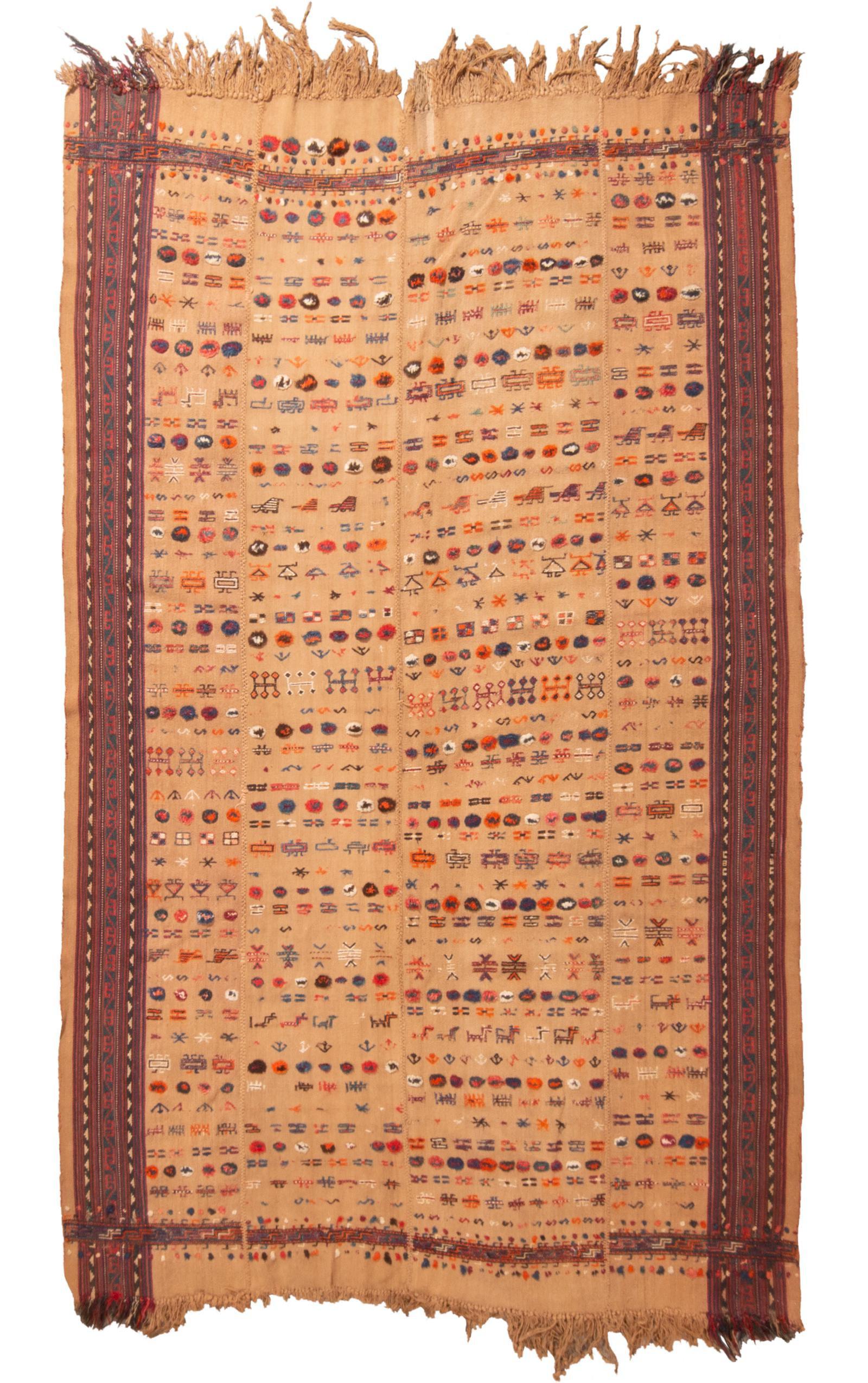 688b0c6b4 Vintage Mid-Century Geometric Kilim Wool Rug - 5′4″ × 8′6″ on Chairish.com