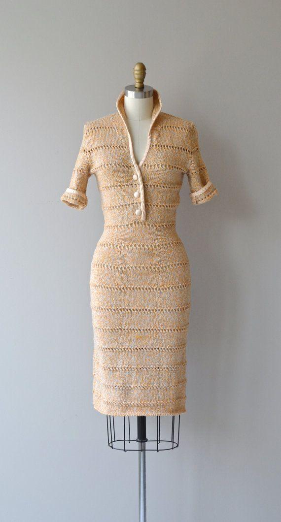 Objet Trouve Dress Vintage 1950s Knit Dress Wool Knit 50s Dress Retro Fashion Vintage Vintage Retro Clothing Knit Fashion