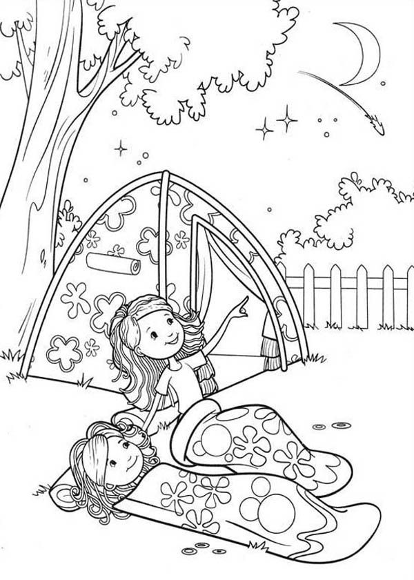 Groovy Girls Camping at Backyard Coloring Pages | COLORING AND ...