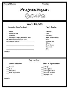 Pre K Progress Report And Assessments Progress Report Preschool Report Card Comments Progress Report Template