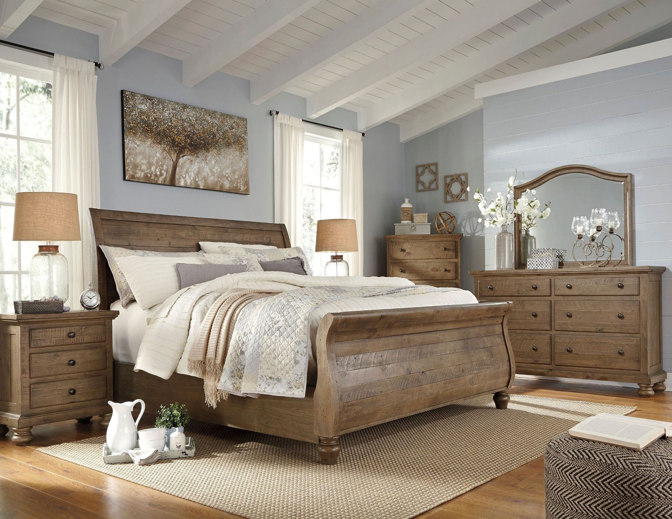 rooms sets sleigh total cherry products set bedroom