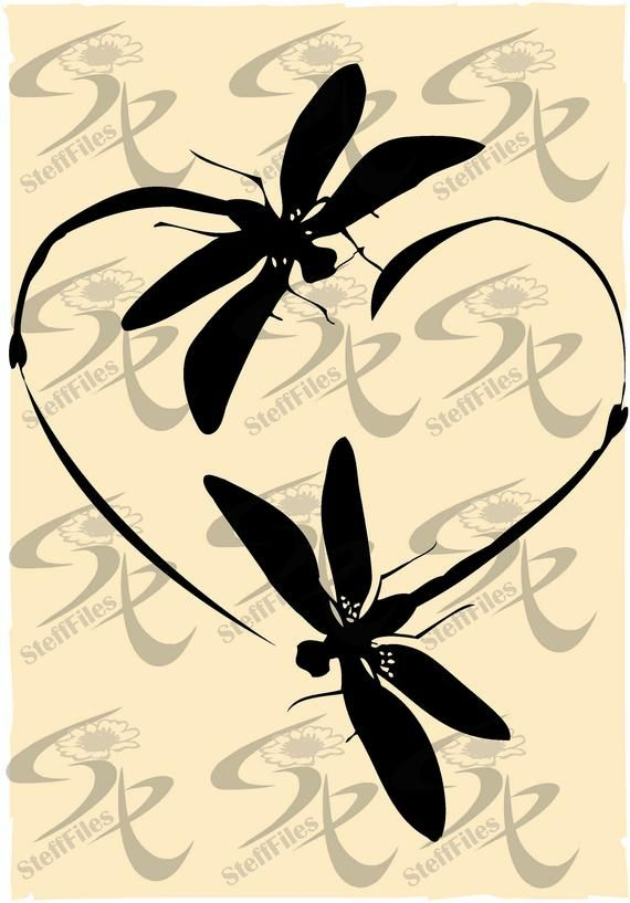 Download Vector DRAGONFLY Love heart clipart valentines,SVG,DXF,ai ...