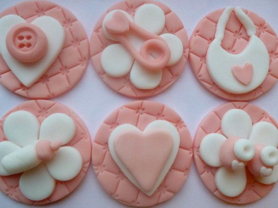 Edible Fondant Baby Girl Quilted Cupcake Toppers Bottles Booties Safety Pin Hearts