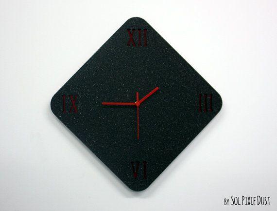 Black Granite Concrete Wall Clock Latin Numbers Modern Rhombus Wall Clock