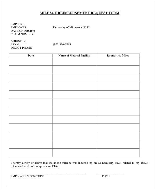 10+ Mileage Log Reimbursement Form Templates   Mileage ...