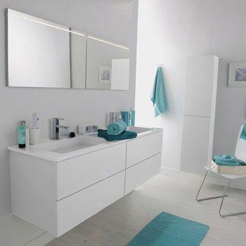 Meuble de salle de bains cosmo blanc calcaire n3 leroy merlin