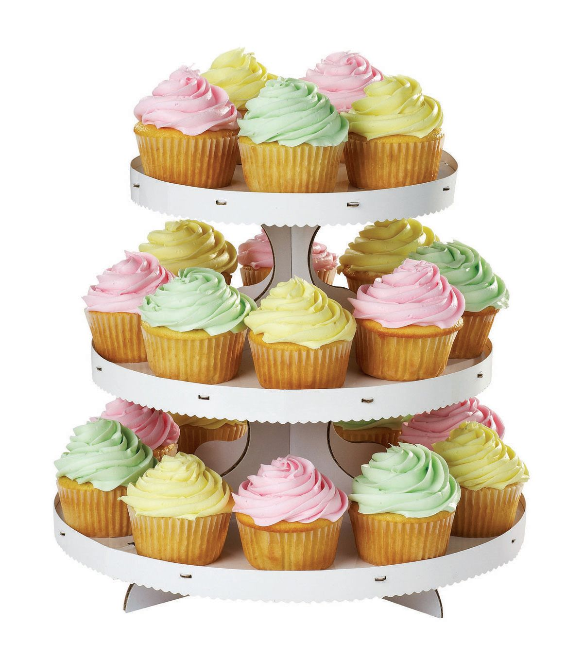 Cupcake stand with 3 tiers white cardboard cupcake stand