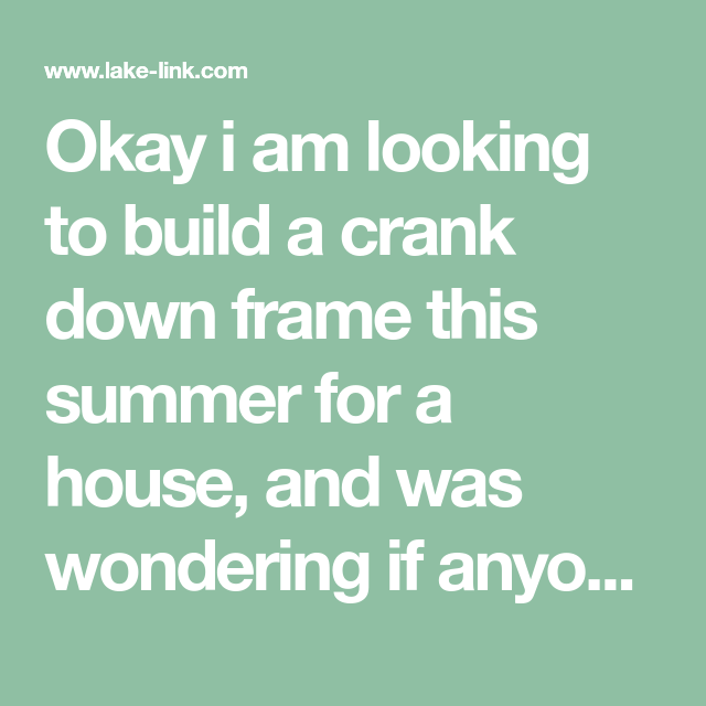 Ice House Crank Down Frame