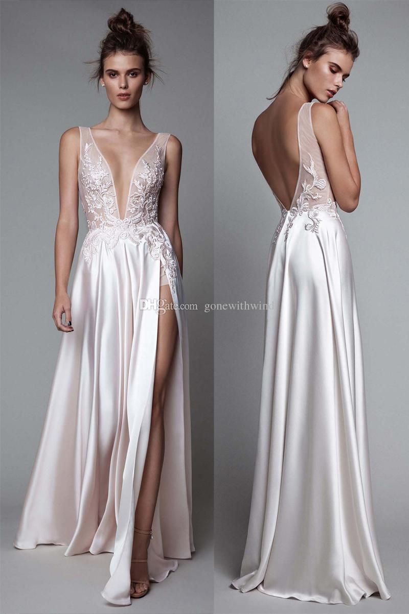 2017 Berta Sexy Slipt White Silk Evening Dresses Deep V Plunging Neckline  Backless Floor Length Prom Dresses Evening Dress With Sleeves Evening  Dresses ... c6e896362