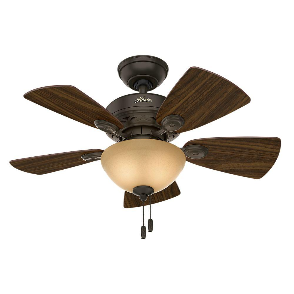 Hunter Watson 34 In Indoor White Ceiling Fan With Light Kit 52089