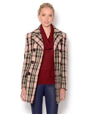 1,019.00 Prada Double Breasted Plaid Trench Coat.