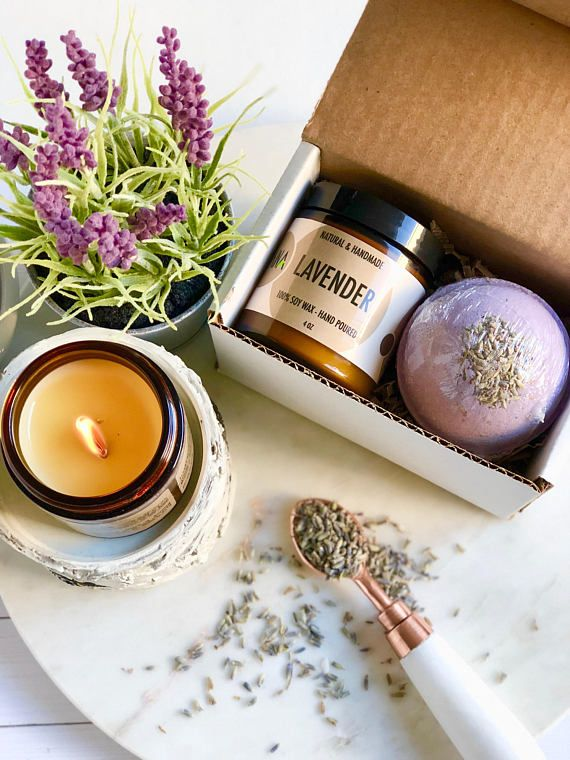 Holiday Gift Under 20 ME Time Spa Set Hostess For Her Bridesmaids Soy Candle Lavender Bath Bomb Christmas